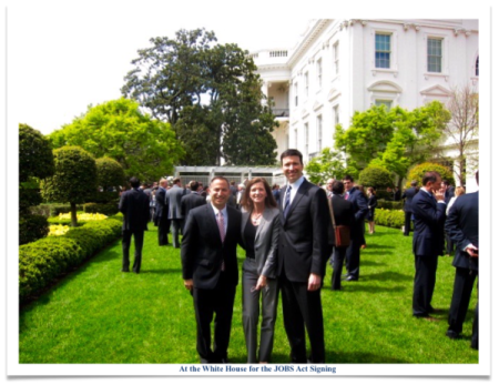On April 5, 2012 the JOBS Act was signed into law by President Obama. Sherwood Neiss, Karen Kerrigan, and Jason Best joined the President in the Rose Garden for the signing of this transformative legislation.