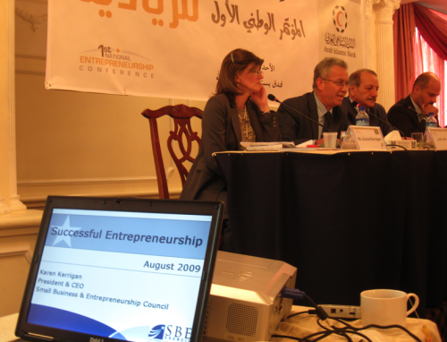 Kerrigan participated in Palestine's first entrepreneurship summit where she networked with attendees and spoke on the opening session panel.