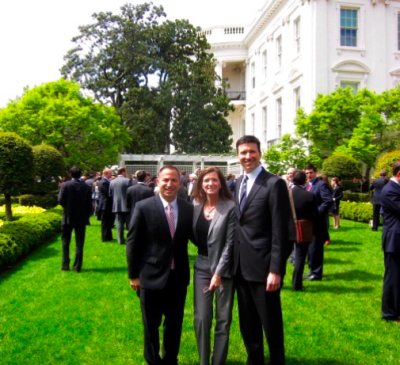 Karen Kerrigan joins SBE Council members Sherwood Neiss and Jason Best at the White House for the signing of the JOBS Act (April 2012). Sherwood and Jason developed the framework for the equity crowdfinancing provision in the JOBS Act.