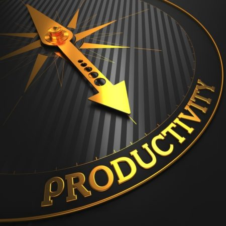 Productivity - Golden Compass Needle on a Black Field Pointing.