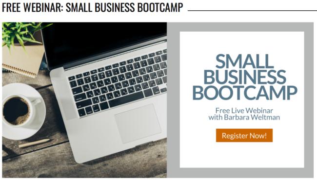 Barbara Weltman WEBINAR: Small Business Bootcamp, July 26