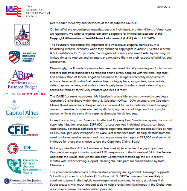 Coalition Support Letter: Copyright Alternative in Small-Claims Enforcement (CASE) Act, H.R. 2426.